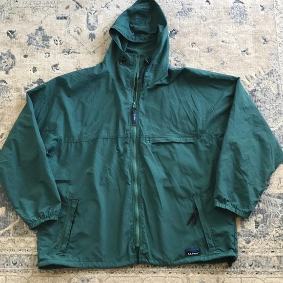 5b5f52a1b Vintage LL Bean rain jacket anorak XL green rare